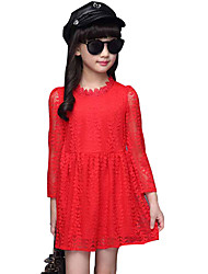 Girl's Fashion Solid Spring /autumn Nylon Lace Princess Dress