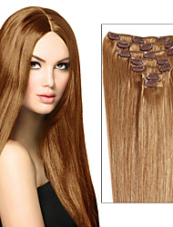 Real Clip in Human Hair Extensions Weft Full Head Silky Straight Remy Hair Weave 7pcs or 8pcs Multiple Colour for Beautiful Women