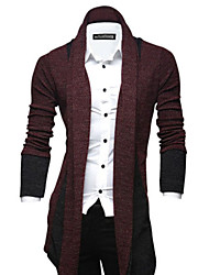 Men's Casual/Daily Regular Cardigan,Solid Long Sleeve Cotton Polyester