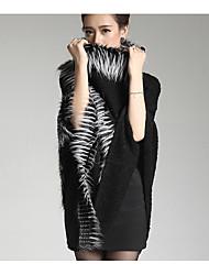 Damen Standard Pullover-Lässig/Alltäglich Einfach Solide Schwarz Grau Kunst-Pelz Herbst Winter Mittel Mikro-elastisch