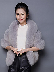 Women's Going out / Casual/Daily Sophisticated Fur Coat,Solid V Neck ¾ Sleeve Fall / Winter Pink / Red / White / Black / Gray Fox Fur