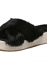 Women's Slippers & Flip-Flops Fall / Winter Slingback Fur Casual Platform Others Black / Red Others
