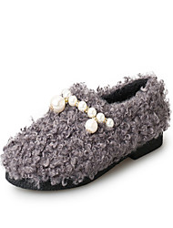 Women's Flats Spring / Fall / Winter Others Leather Dress / Casual Flat Heel Pearl / Fur Black / Green / Gray Others
