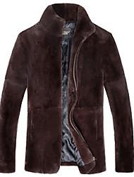 Masculino Casaco de Pêlo Casual Simples Inverno,Sólido Preto / Marrom Pêlo de Coelho Rex Colarinho de Camisa-Manga Longa Grossa
