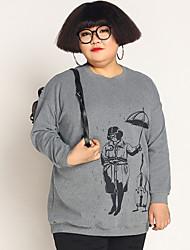 Sweatshirt Femme Grandes Tailles Décontracté / Quotidien simple Imprimé Col Arrondi Elastique Coton Spandex Manches Longues Automne Hiver