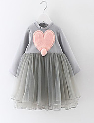 Girl's Casual/Daily Solid Dress,Cotton Summer / Winter Long Sleeve