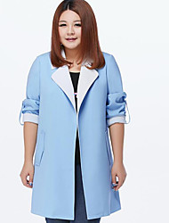 MsShe Women's Plus Size / Casual/Daily Simple Trench CoatSolid V Neck Long Sleeve Fall Blue / Pink / Green Polyester Medium