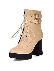 Women's Solid Pu High Heels Closed Round Toe Zipper Boots