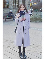 Women's Casual/Daily Simple Coat,Solid Shirt Collar Long Sleeve Fall / Winter Purple Polyester Medium