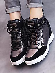 Damen-Stiefel-Lässig-Kunststoff-Keilabsatz-Komfort-Silber / Gold