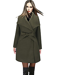 Women's Elegant Peaked Lapel Solid Work Slim Coat Long Sleeve