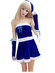 Fête / Célébration Déguisement Halloween Bleu Couleur Pleine Robe / Manche / Chapeau Noël Féminin