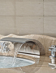 Art Deco/Retro Widespread Waterfall with  Ceramic Valve Two Handles Three Holes for  Chrome , Bathroom Sink Faucet