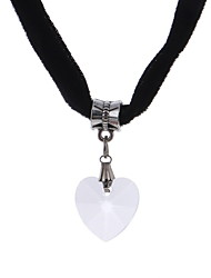 Necklace Choker Necklaces Jewelry Birthday Engagement Wedding Party Daily Casual Heart Dangling Style Heart Lace Women 1pc GiftBlack