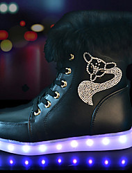 LED Light Up Shoes, Unisex Sneakers Spring Fall Winter  Crib Shoes Ankle Strap PU Casual Athletic Flat Heel Crystal Lace-up Black WhiteBasketball