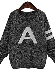 Fall Winter Women's Going out Casual Pullover Round Neck Long Sleeve Letter Sweater