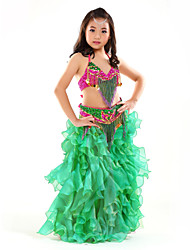 Belly Dance Outfits Children's Performance Chiffon Sequins / Tassel(s) 3 Pieces Sleeveless Dropped Top / Hip Scarf / Skirt