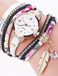 Women's Dress Watch Fashion Watch Wrist watch Bracelet Watch Quartz Punk Colorful Fabric BandVintage Sparkle Leaves Candy color Bohemian