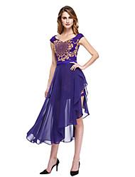 Lanting Bride® Trapèze Robe de Mère de Mariée  - Robe Convertible / Fleur / Deux Pièces Asymétrique Sans Manches Mousseline de soie  -
