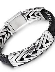Kalen 1PC Fashion Braided Leather Bracelets 316 Stainless Steel High Polishing Charm Bracelets Bangles Men's Trendy Jewelry Gifts
