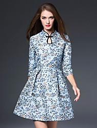 Feminino Evasê Vestido,Casual Temática Asiática Jacquard Decote U Acima do Joelho Manga ¾ Azul Poliéster Outono Cintura MédiaSem