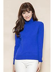 Damen Kurz Pullover-Lässig/Alltäglich Einfach Solide Blau Rot Schwarz Rollkragen Langarm Polyester Herbst Mittel Mikro-elastisch