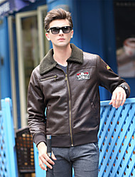 Men's Casual/Daily Vintage Jackets,Solid Long Sleeve Brown PU