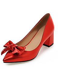 Women's Heels Spring Fall Leatherette Office & Career Casual Dress Chunky Heel Black Sliver Red Blushing Pink