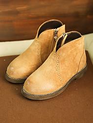 Boy's Boots Winter Others Cowhide Casual Flat Heel Black / Brown / Nude Walking