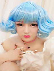 Lolita Wigs Sweet Lolita Lolita Curly Sky blue Lolita Wig 30 CM Cosplay Wigs Solid Wig For Women