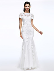 Lanting Bride® Trumpet / Mermaid Wedding Dress Sweep / Brush Train Jewel Lace with Flower