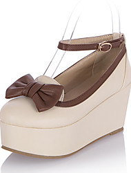 Damen-High Heels-Kleid Lässig-Kunstleder-Plateau-Plateau-Beige Rosa