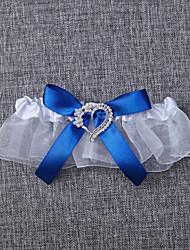 Garter Organza Bowknot White Blue