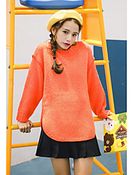 Normal Pullover Femme Sortie / Décontracté / Quotidien simple / Actif,Couleur Pleine Orange Col Arrondi Manches Longues CotonAutomne /