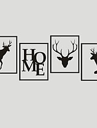 AYA DIY Wall Stickers Wall Decals HOME & Deers PVC Wall Stickers 40*30cmX4