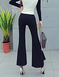 Feminino Tamanhos Grandes Delgado Chinos Calças-Cor Única Casual Simples Cintura Alta Elasticidade Algodão Inelástico Inverno Outono