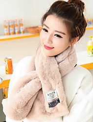 Women Faux Fur Scarf RectangleSolid