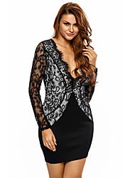 Women's Black Scalloped V Neck Lace Long Sleeve Mini Dress