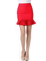 Women's Plus Size Bodycon / Trumpet/Mermaid Solid Ruffle Skirts,Going out / Casual/Daily Street chic High Rise Above Knee Elasticity
