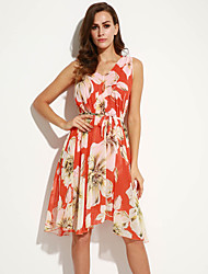 Women's Beach Boho Chiffon Dress,Floral V Neck Above Knee Sleeveless Orange / Yellow Polyester Summer