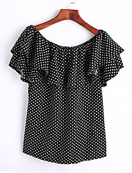 Women's Casual/Daily Simple Summer T-shirt,Polka Dot Boat Neck Short Sleeve Black Polyester Medium
