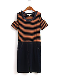 Women's Work / Sports Cute / Chinoiserie A Line Dress,Patchwork Round Neck Above Knee Short Sleeve Multi-color Cotton All Seasons Mid Rise