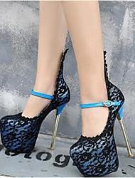 Damen-High Heels-Lässig-WildlederPlateau-Schwarz / Blau / Burgund