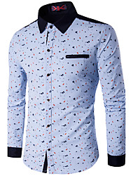 Men's Plus Size / Casual/Daily / Work Florals / Simple Fall / Winter Shirt,Print / Color Block Classic Collar Long SleeveBlue / Red /