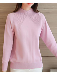 Women's Casual/Daily Simple Regular Cardigan,Solid Pink White Round Neck Long Sleeve Acrylic Winter Medium Micro-elastic