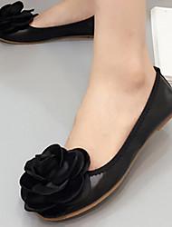 Damen-Flache Schuhe-Lässig-PUKomfort-Schwarz / Beige