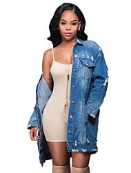 Feminino Jaquetas Jeans Casual / Férias Simples / Moda de Rua Primavera / Outono,Sólido Azul Poliéster Colarinho de Camisa-Manga Longa