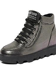 Women's Boots Winter Platform PU Casual Low Heel Platform Lace-up Black Coffee Walking