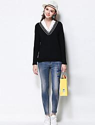 Damen Übergrössen Skinny Jeans Hose-Lässig/Alltäglich Einfach Buchstabe Mittlere Hüfthöhe Reisverschluss Baumwolle Dehnbar Herbst
