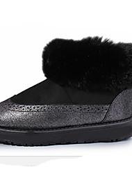 Women's Boots Fall Winter Comfort Fur Outdoor Casual Flat Heel Black Pink Gray Walking